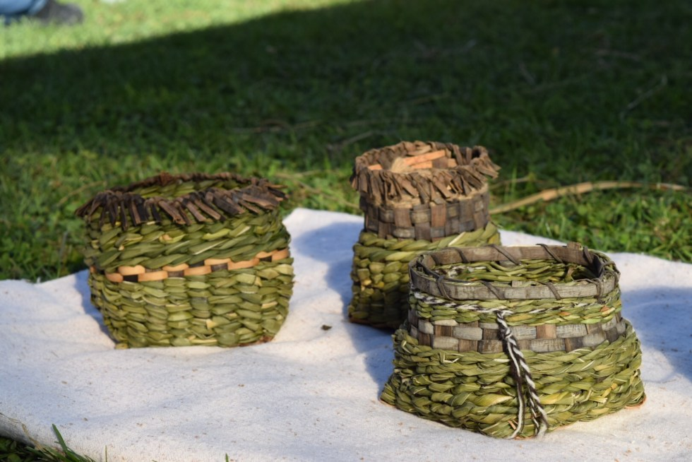 A group of twined cattail, Iris, and black walnut bark baskets