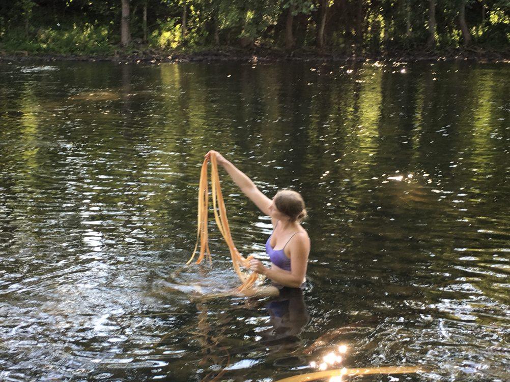 Katie grove rinsing basswood fiber