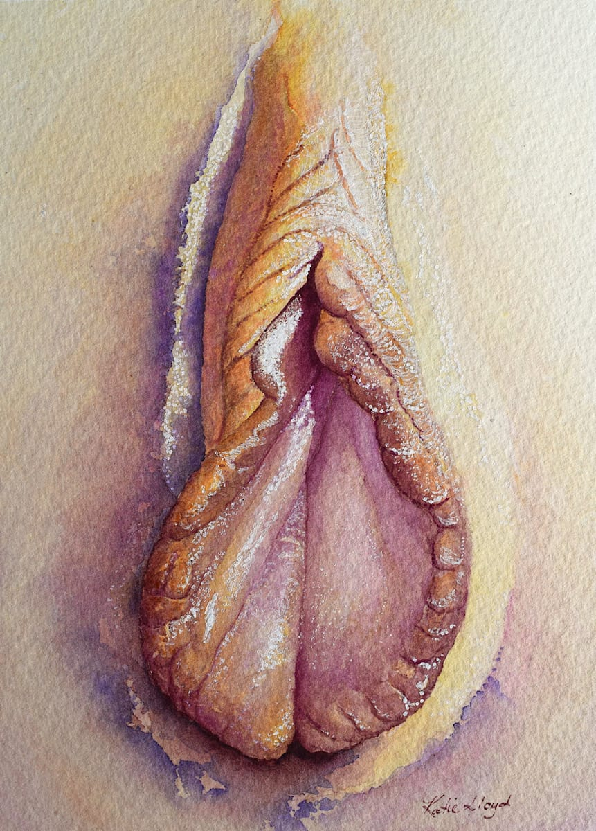 Vagina portrait yoni art in watercolour by Katie Lloyd