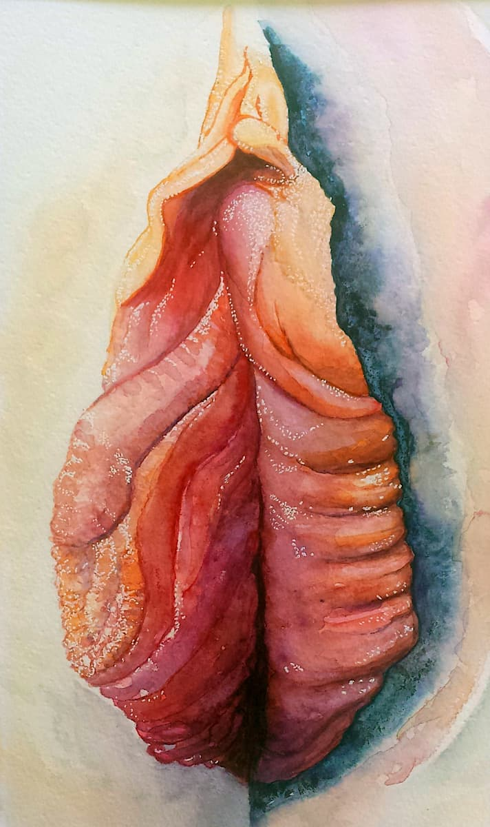 Vulva painting in watercolour by Yoni artist Katie /Lloyd