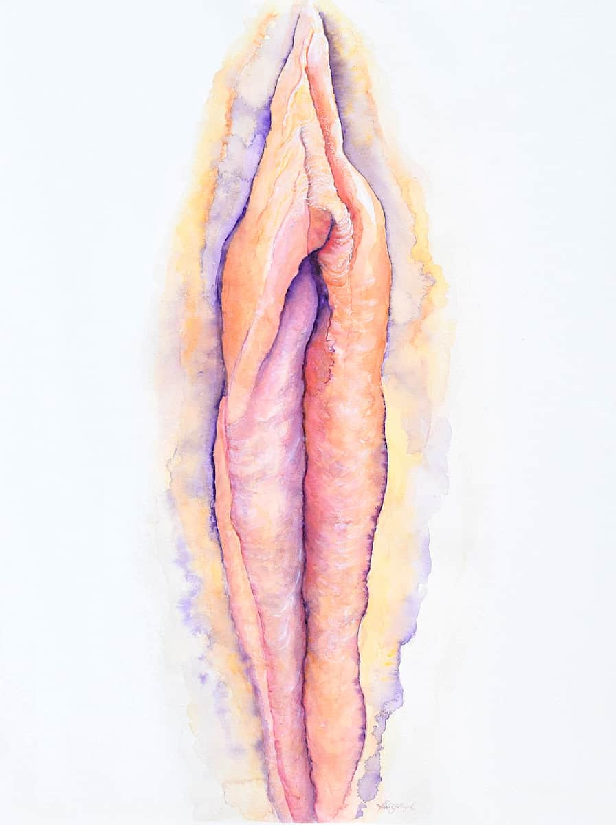 Beautiful vagina painting in soft pink and yellow watercolour Yoni art by Katie Lloyd