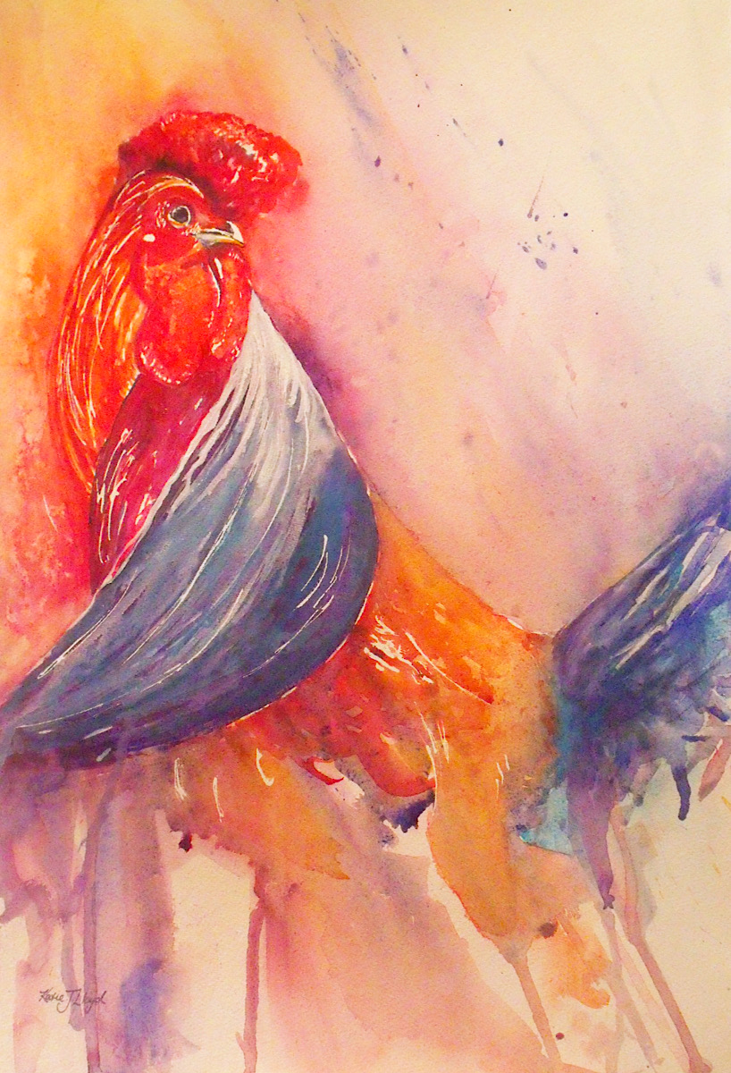 Colourful rooster painting in bright red, orange and blue watercolour by Katie Lloyd