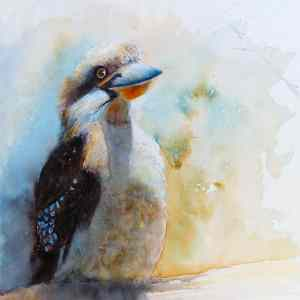 Watercolour painting Kookaburra sitting on a log by Katie Lloyd