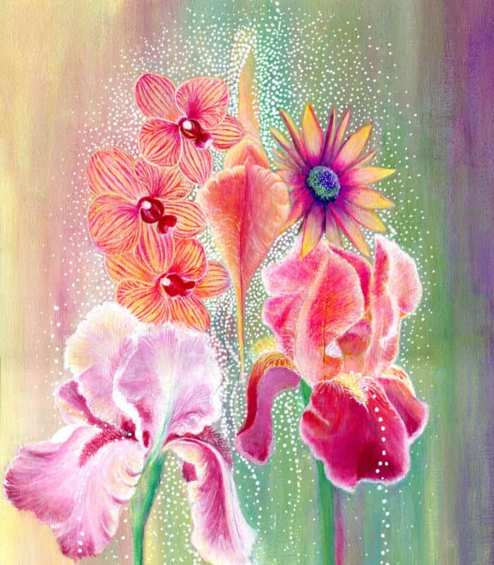 Vagina painting with iris and orchid flowers