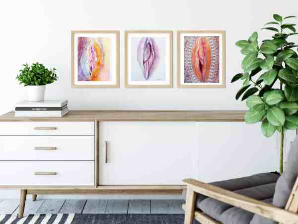 Trio of yoni art paintings