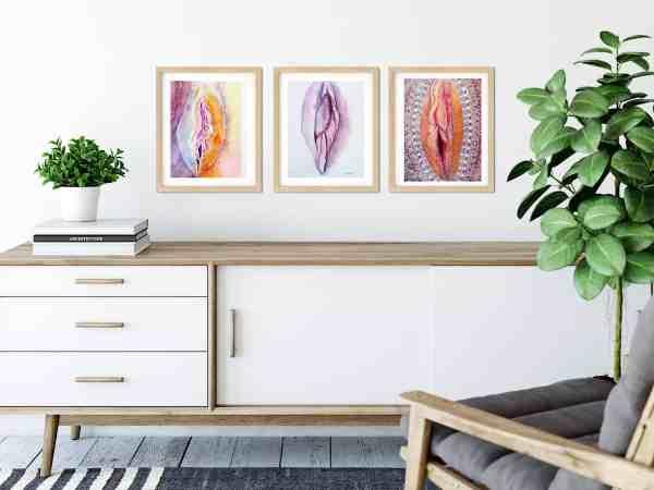 Yoni art trio on wall