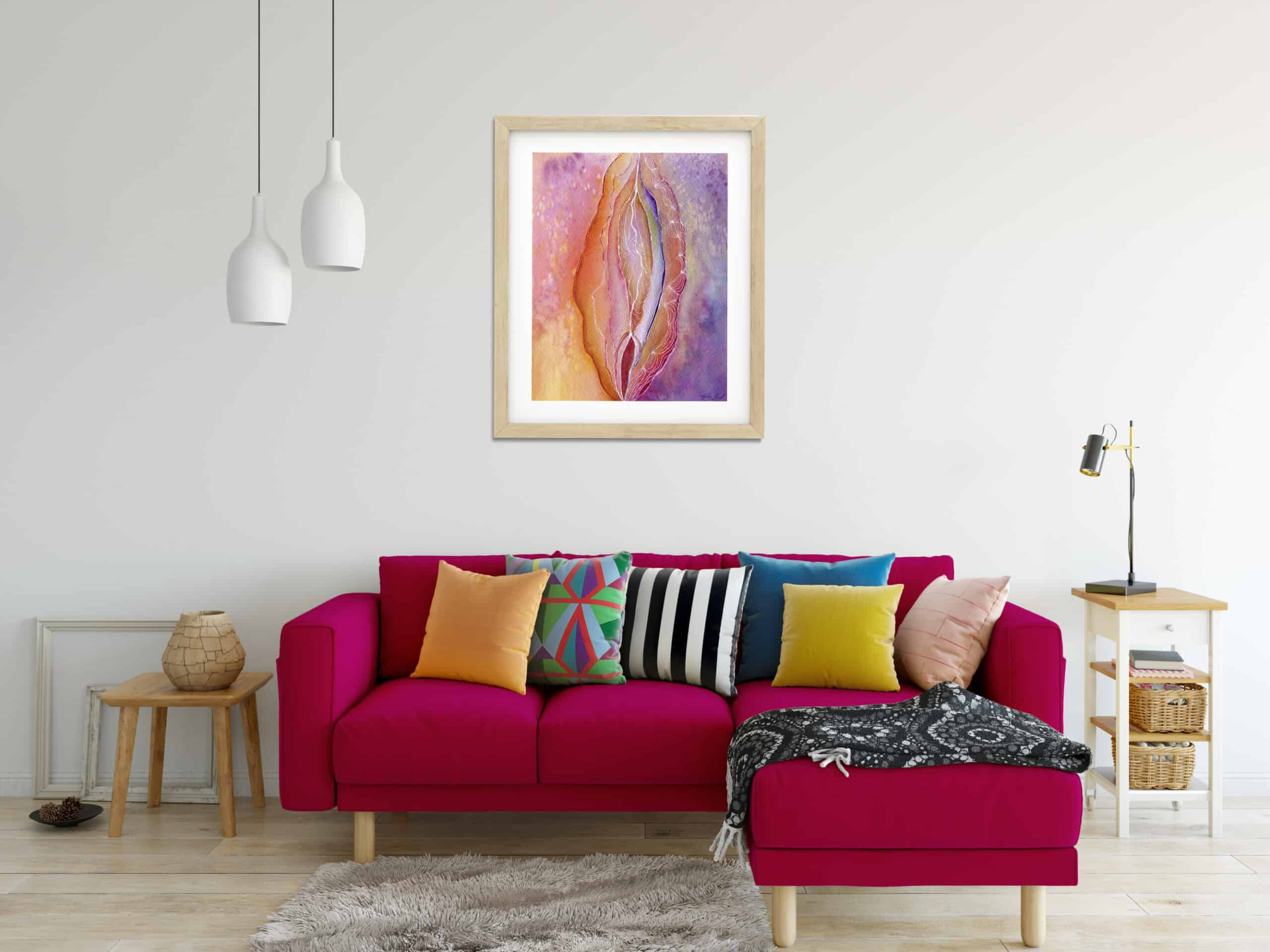 Earth lines yoni red couch
