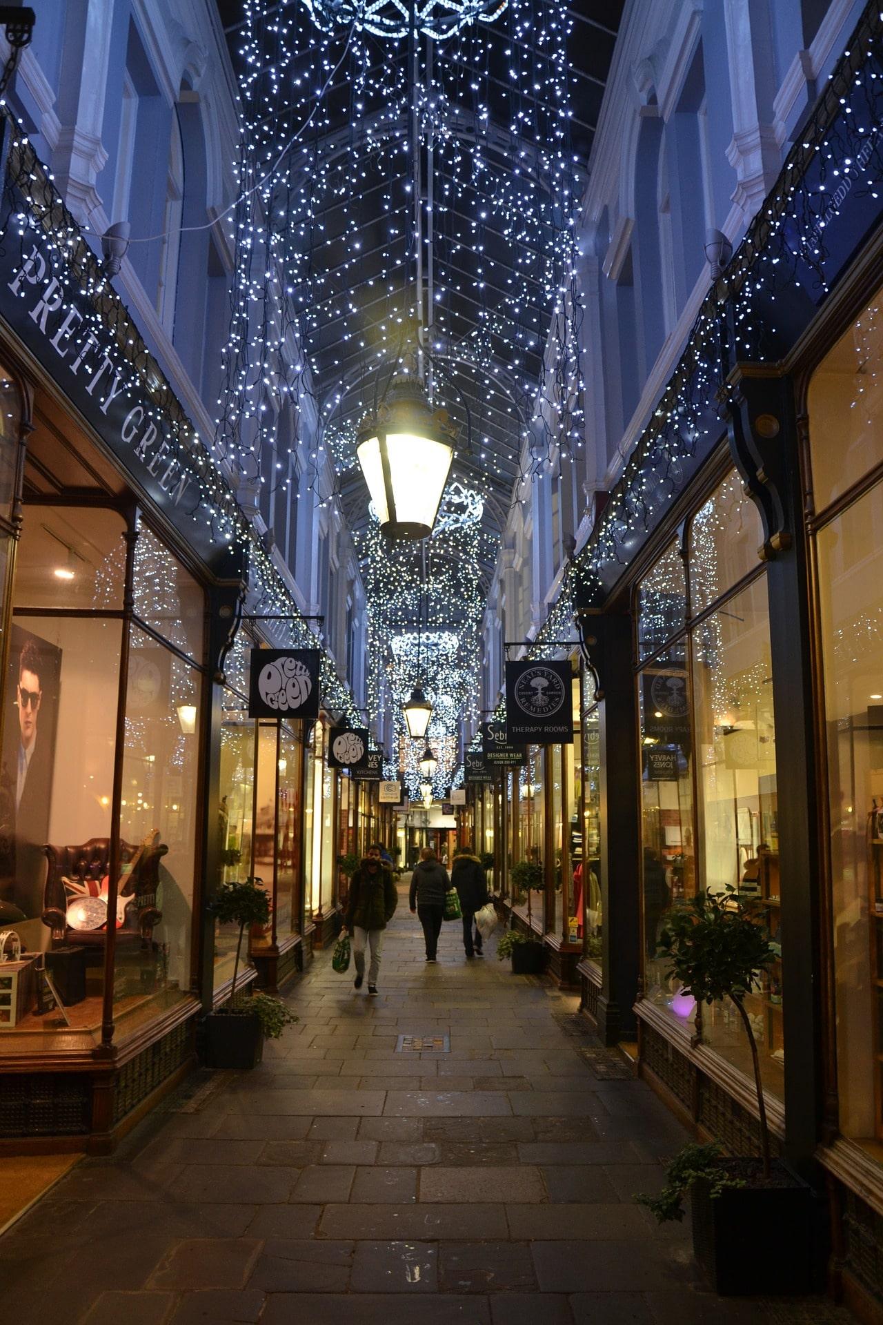 Cardiff arcades fairy lights