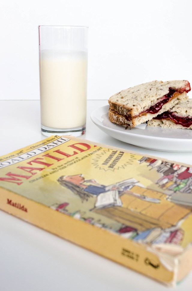 peanut butter and jelly with a cold glass of milk go perfectly with Roald Dahl's book Matilda