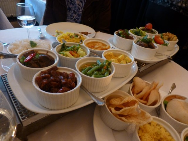 This isn't my photo, but this is the vegetarian rijsttafel that we enjoyed.