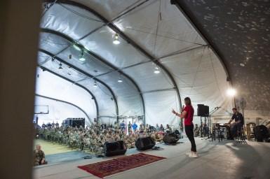 Speaking to troops in Bagram Afghanistan
