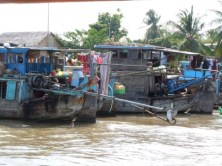 The merchants at the floating market live on the water full time; everything is onboard!