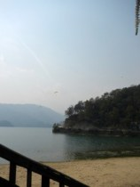 Paragliders over the lake in Pokhara.
