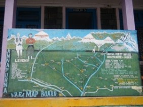 Every town seemed to have these handpainted maps, letting you know how far you had to the next village.