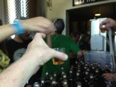 Cheers! Shots after a pallet is completed.