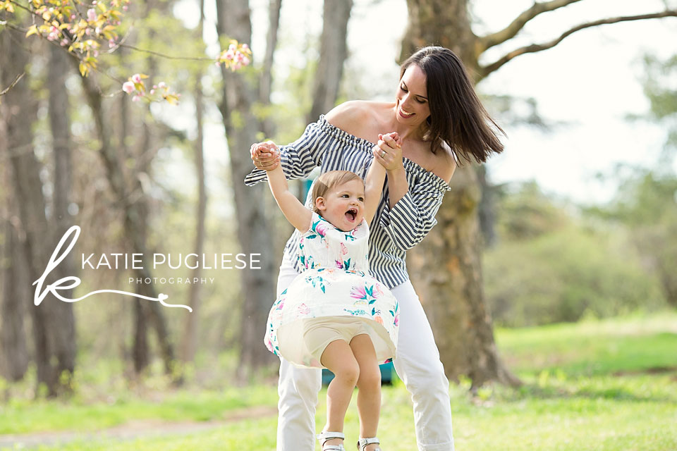Mother and toddler daughter having fun