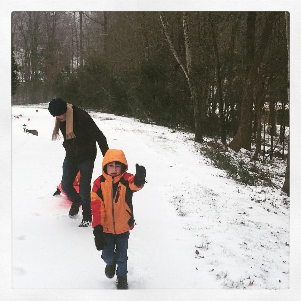 Sledding in sleet = sledding to my kids