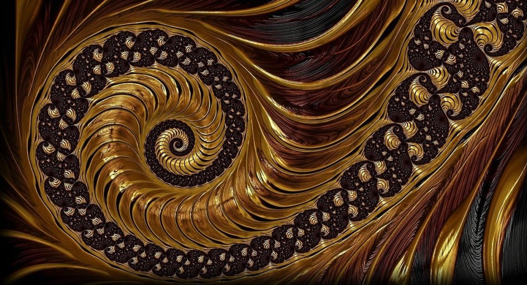 Alt text: a photographic image of a fractal in brown and gold tones, spiraling counter-clockwise