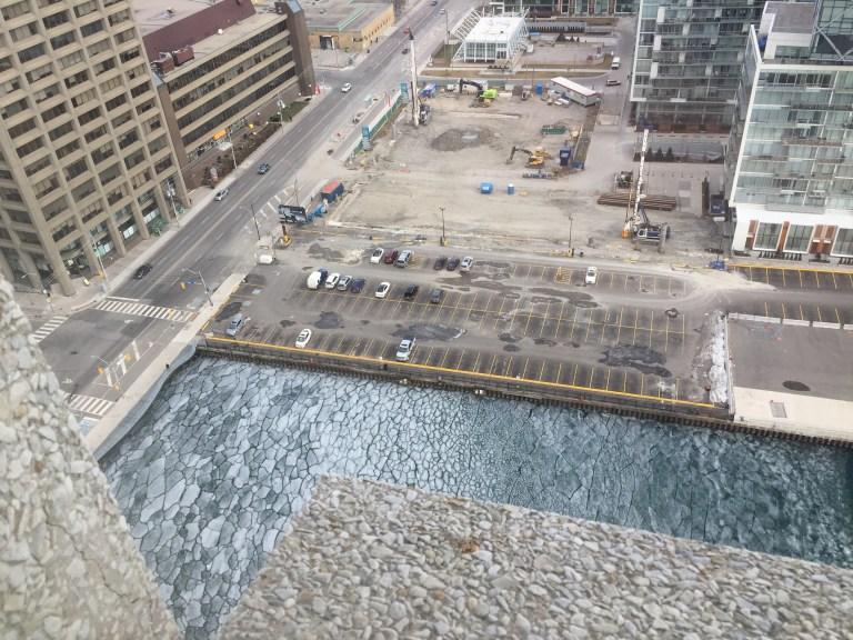 Toronto's frozen harbour in January