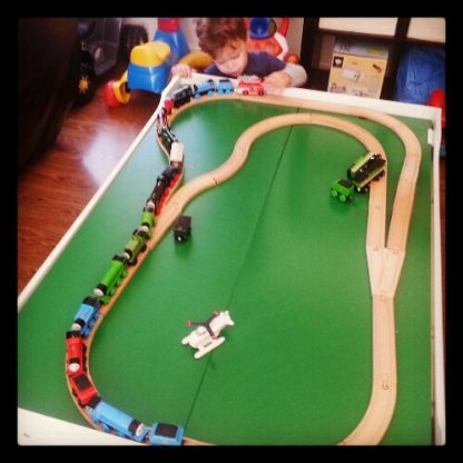 Ikea track is compatible with Thomas engines, just don't expect them to fit under the bridge. :)