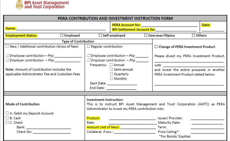 BPI PERA form - upper part