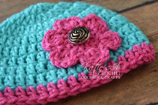 Free Flower Crochet Hat Pattern - Katie\'s Crochet Goodies