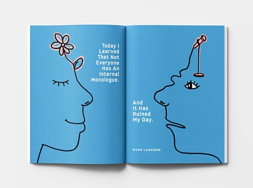 Magazine spread of two line drawings of two faces, looking at each other. One is peaceful and the other is dismayed.