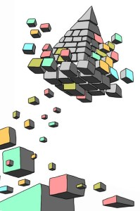 A flying pyramid of exploding colorful blocks