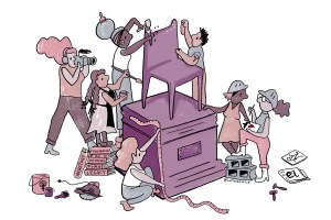 a cartoon of many diverse women busily working on a large chair sculpture, with saws, paintbrushes, chisels, and hard hats