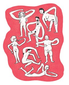 A drawing of many nude people pointing happily to different parts of their bodies