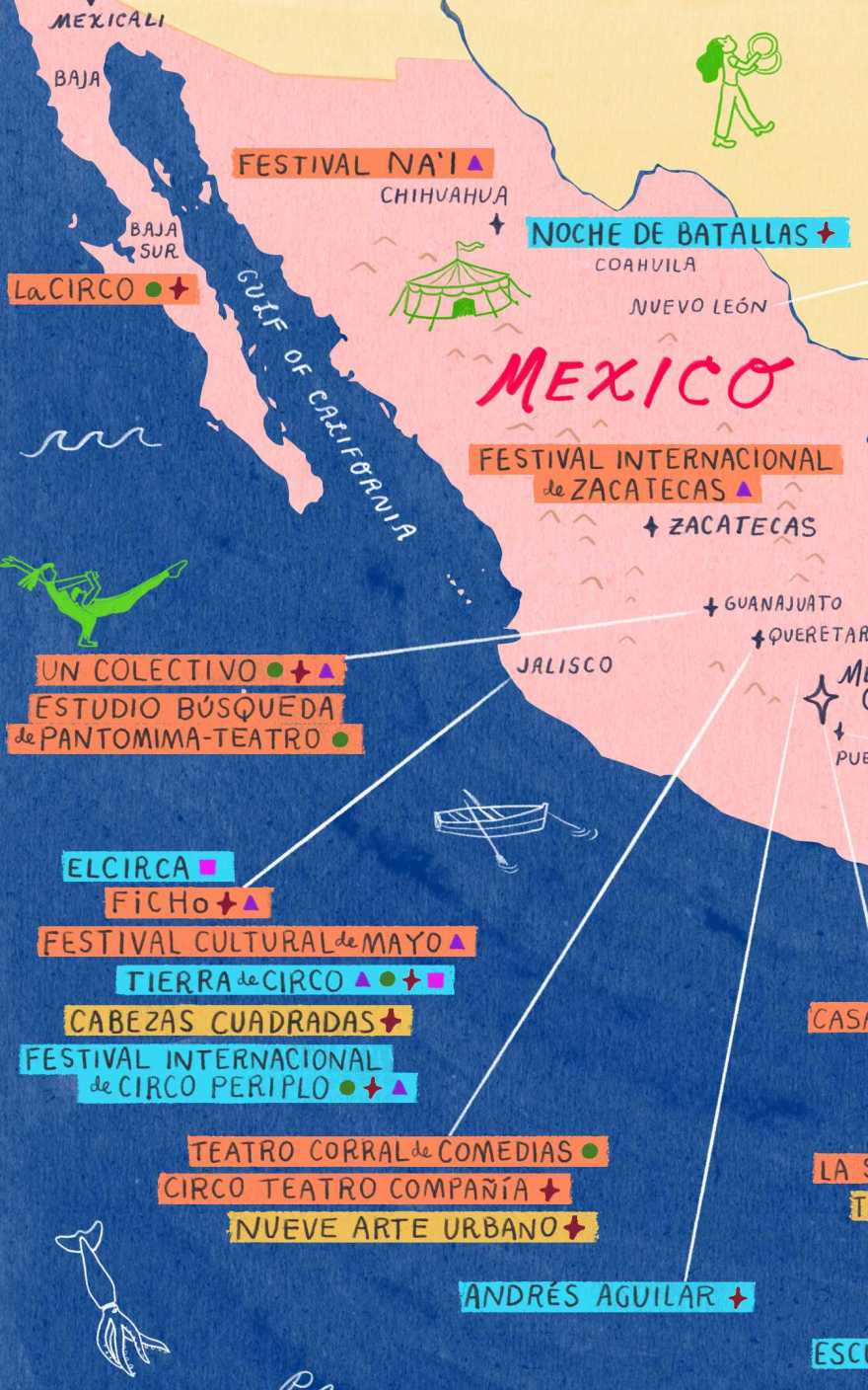 A colorful map of Mexico with many labels of arts entities