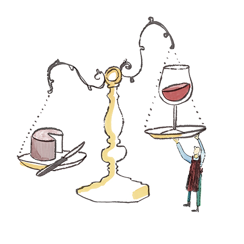 A tiny person working with an oversized scale. One side has a glass of wine and the other size a block of cheese
