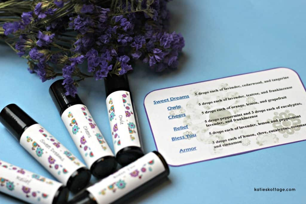 Essential Oil Roller Bottle Recipes with printable roller bottle labels.