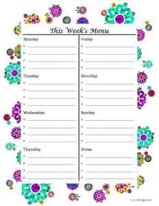 Weekly Menu. Meal Planning. Save time in the grocery store.