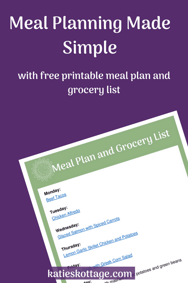 Meal planning made simple. Free printable meal plan and grocery list. Plus, other tips for weekly meal planning. #mealplan #freeprintable #freemealplan