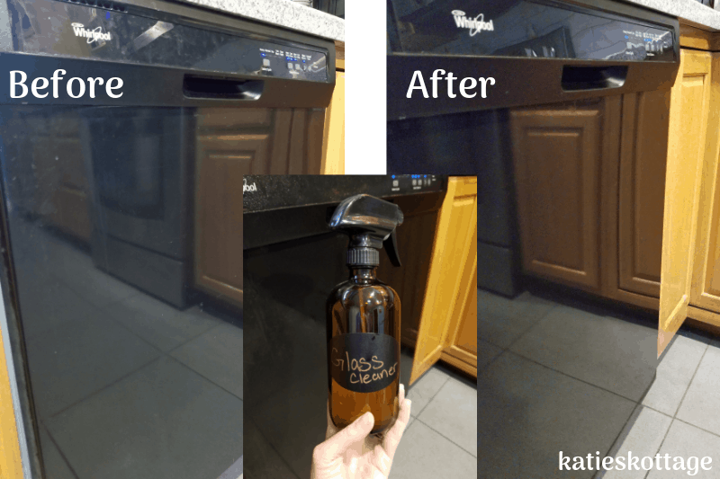 Before and after cleaning the outside of your dishwasher with glass cleaner. #cleaninghacks #cleaningtips