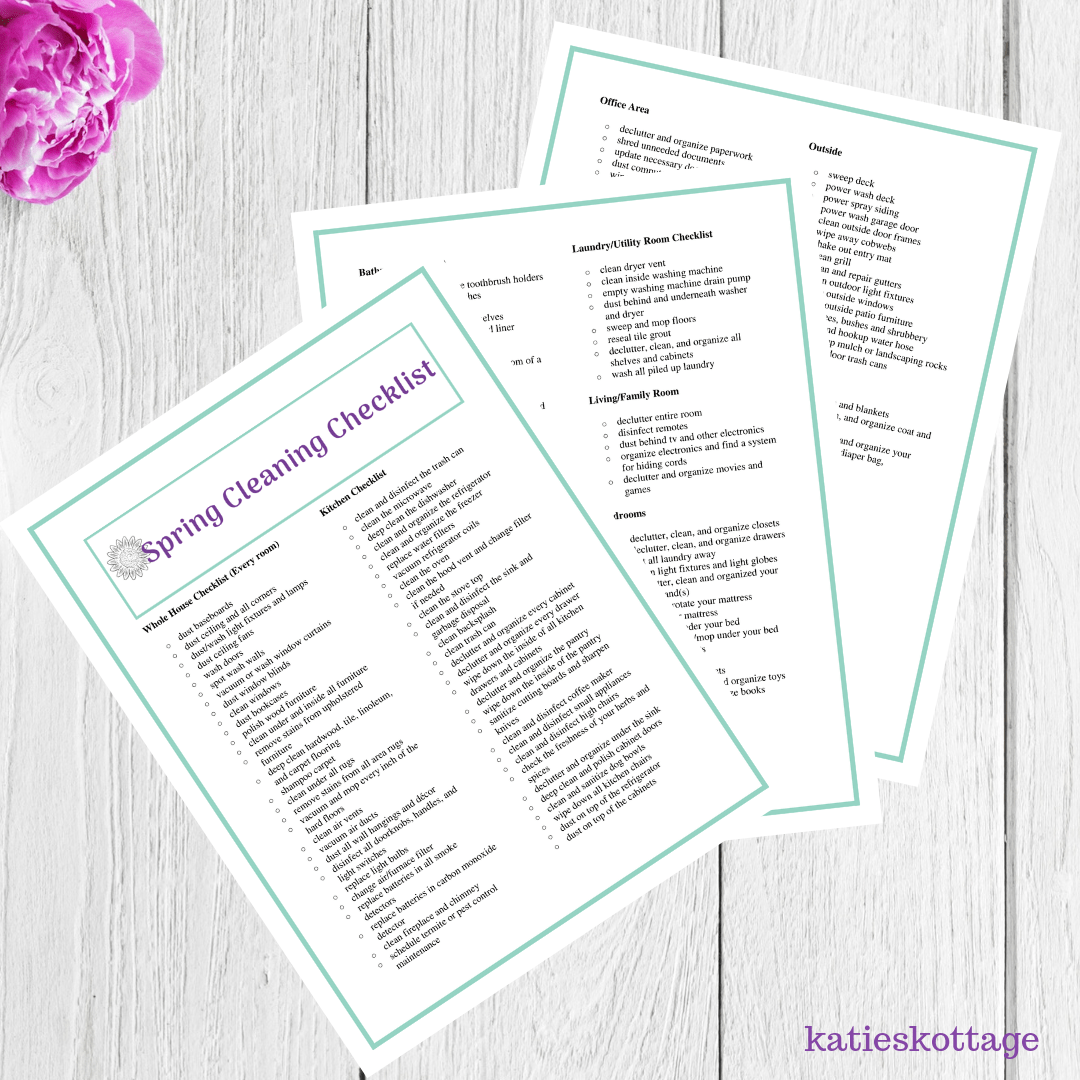 Extreme spring cleaning checklist. Deep clean your whole house with this free printable.