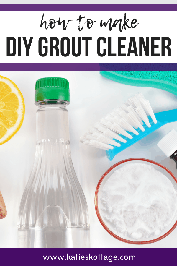 ingredients for a diy grout cleaner - baking soda, vinegar, lemon, essential oil