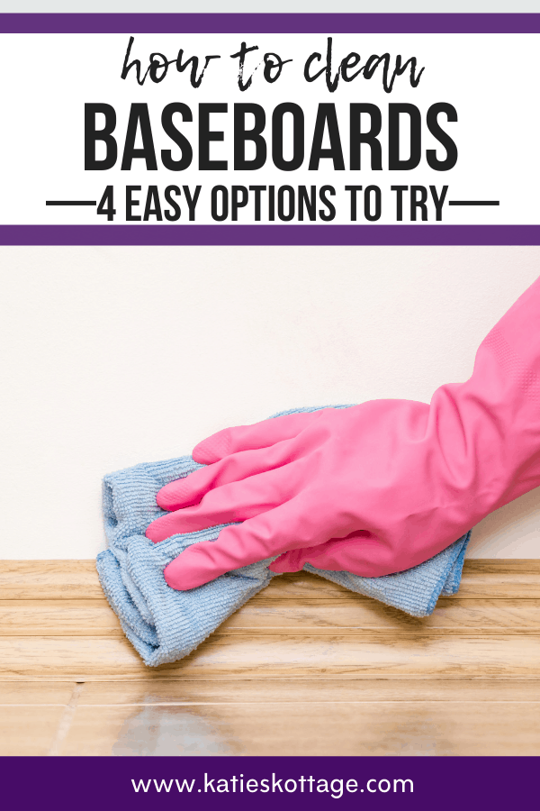 woman cleaning baseboard with microfiber while wearing pink gloves