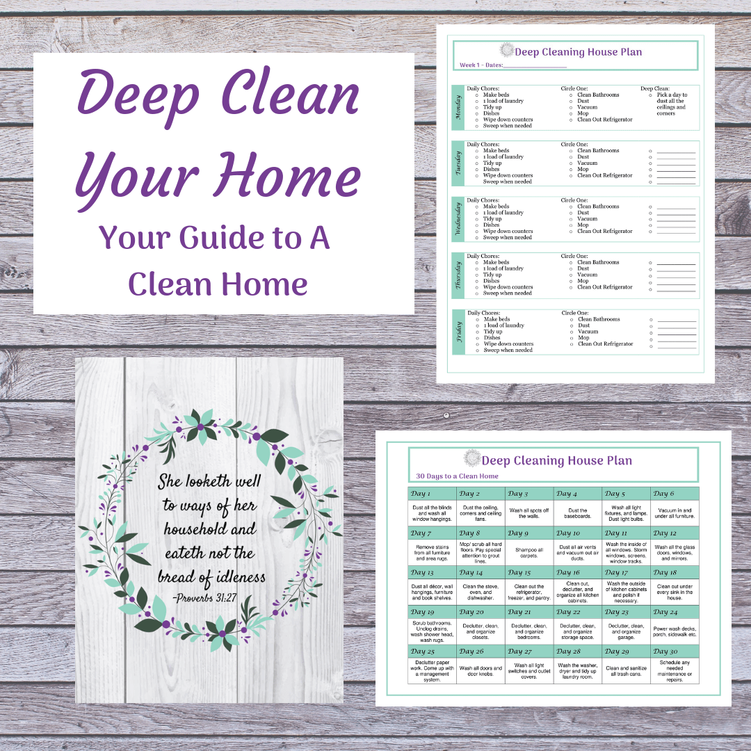Spring Clean your home any time with this deep cleaning guide. It gives you a plan of action to get things clean up and stay on top of it.