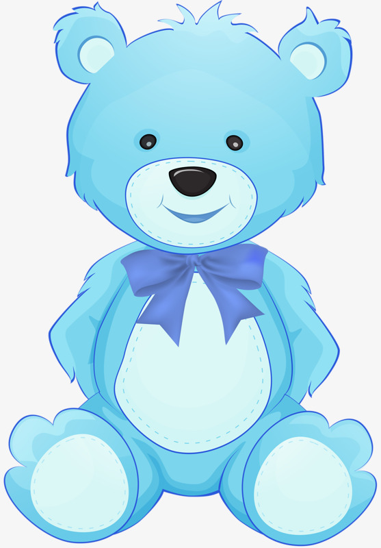 A picture of a blue teddy bear.