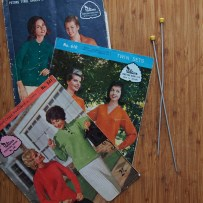 These were rescued from the Outlook Recovery Centre in Mornington, which is described as a 'tip op shop'. Essentially, I have saved these gorgeous 1960s patterns from being buried with a pile of rubbish. Those needles are slightly wonky but that won't affect the knitting!