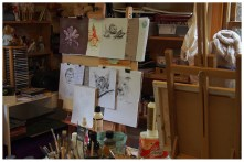 A busy artist's studio, ie. the ma's. She's always creating something or other.