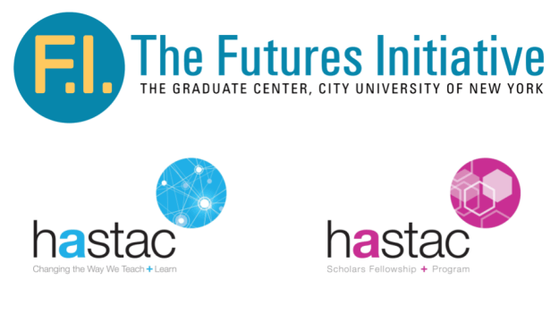 Slide showing logos of the Futures Initiative, HASTAC, and HASTAC Scholars