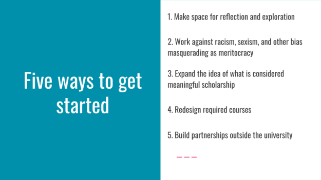 "Slide with ""Five ways to get started"" on the left and bullet points (detailed in the text) on the right"