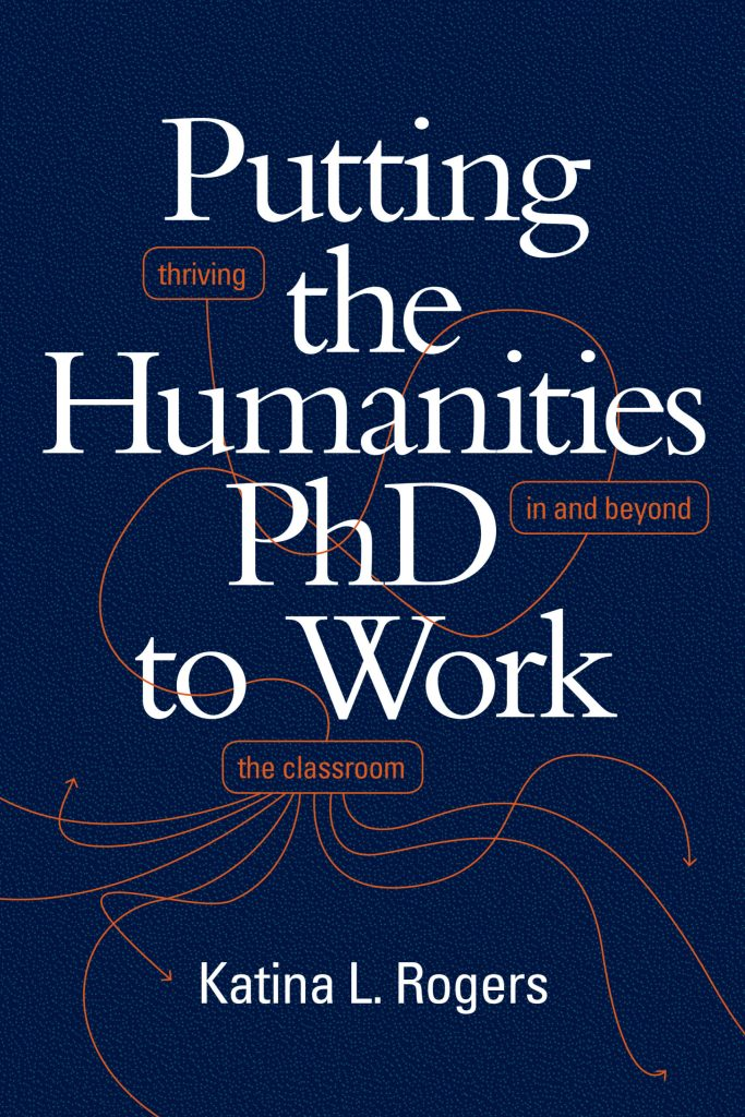 Dark blue book cover with white and orange title text