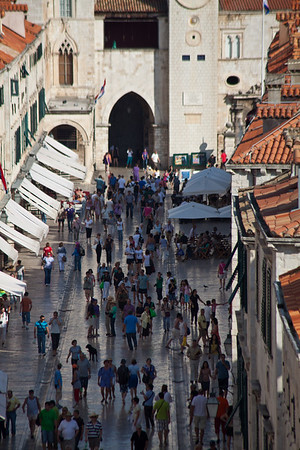 Old town main street Dubrovnik's main old town tourist street the Placa © 2010 Nick Katin