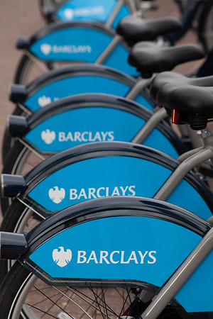 Cycles for hire Barclays cycle hire stations are dotted all around Central London, England