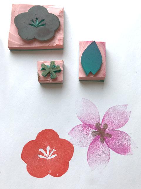 Zusammengesetzte Kirschblüten-Motive mit Farbverläufen in den Blütenblättern sind besonders sehen besonders zart und interessant aus.