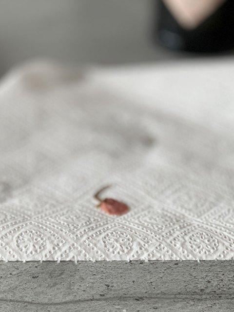Die eingelegten Kirschblüten kurz wässern und auf Papier abtropfen lassen.